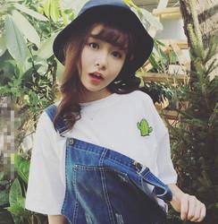 2017新款韩版春夏女装小清新植物刺绣简约短袖T恤上衣学生打底衫