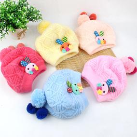 婴儿帽子秋冬季0-3-6个月男女宝宝毛线纯棉新生胎儿公主针织潮帽