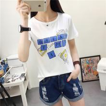 短袖t恤女夏季新款韩版学生宽松字母印花体恤女装半袖上衣服潮