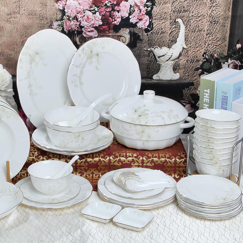 红牡丹唐山骨瓷碗碟餐具家用礼品套装陶瓷盘子欧式