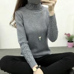 秋冬新款yabo亚博体育韩版高领毛衣女打底衫麻花套头加厚修身显瘦针织衫