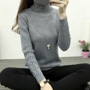 秋冬新款女装韩版高领毛衣女打底衫麻花套头加厚修身显瘦针织衫