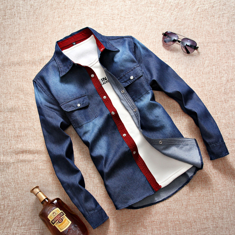 修身青少年衬衫春秋外套衬衣男士牛仔季潮男长袖学生