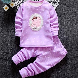 男童宝宝婴儿童保暖内衣套装加绒加厚女童家居服冬季1秋衣秋裤3岁