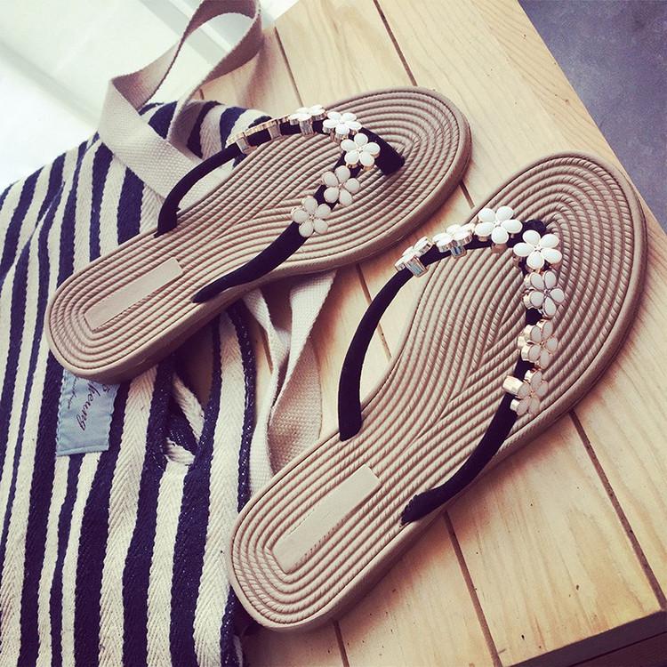女外穿防滑凉拖韩版人字拖女夏季学生沙滩鞋拖鞋平底时尚花朵