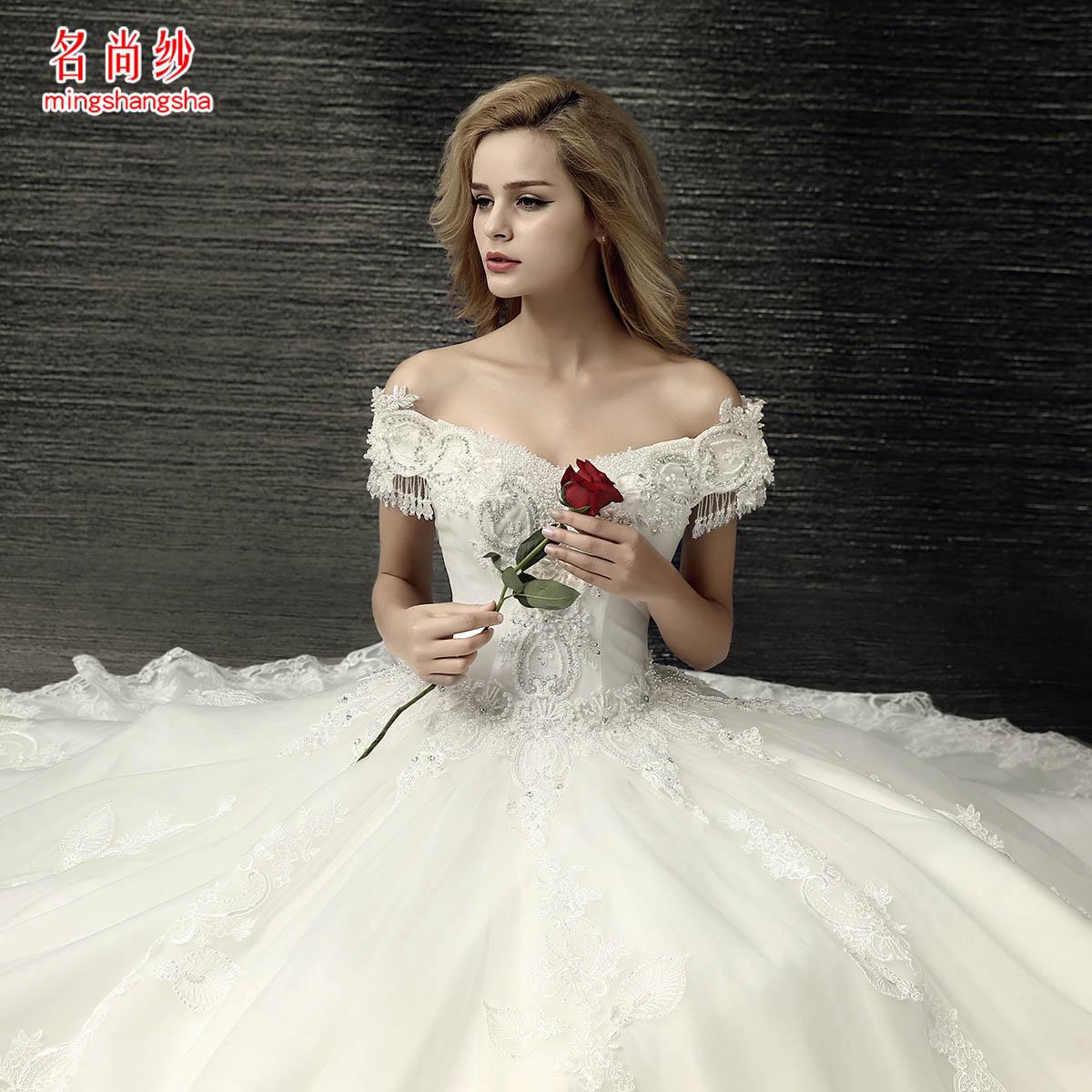 欧式宫廷一字肩婚纱齐地大码新娘婚纱礼服孕妇韩式夏