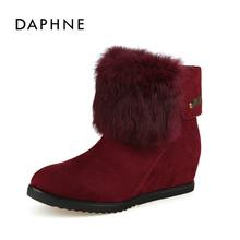 Daphne/达芙妮女靴保暖纤维布面时尚毛绒内增高雪地靴女特卖清仓