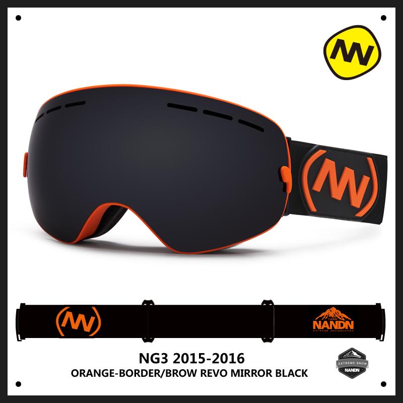 滑雪镜大球面双层防雾男女镜片可卡近视滑雪眼镜亲子款 NANDN 正品