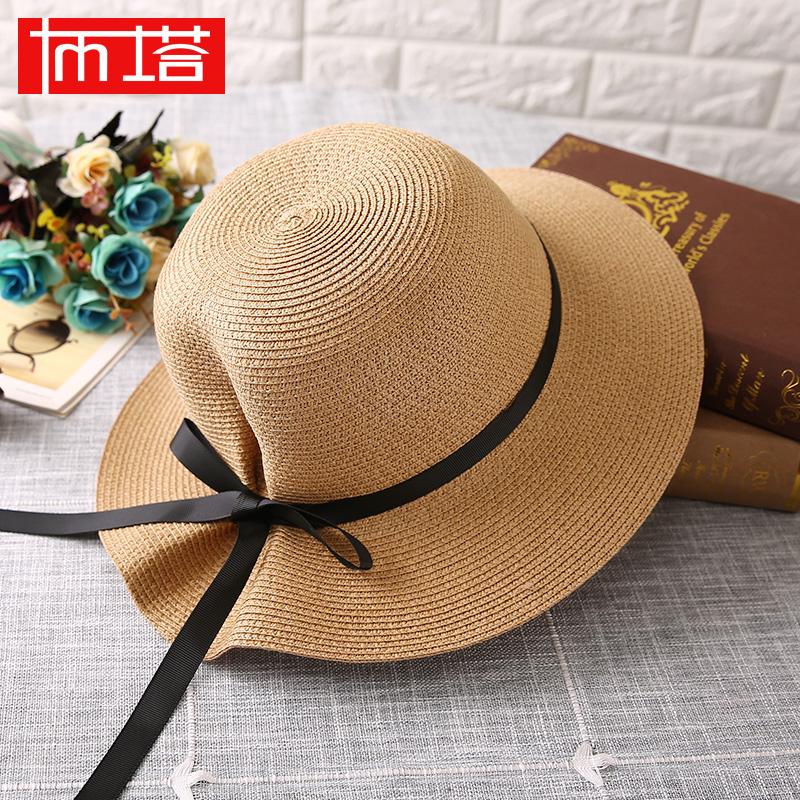 防晒帽大沿叠草帽沙滩太阳帽女帽夏天遮阳帽