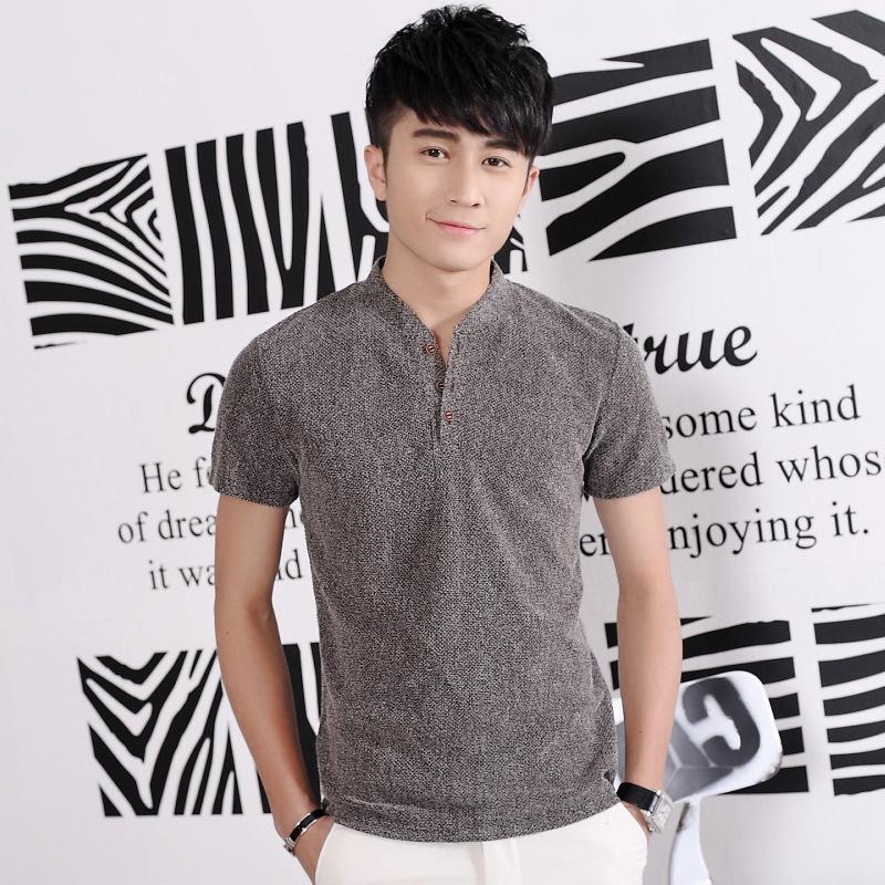 夏季男短袖T恤青少年立领修身棉体恤 大码纯色半袖上衣韩版男装潮