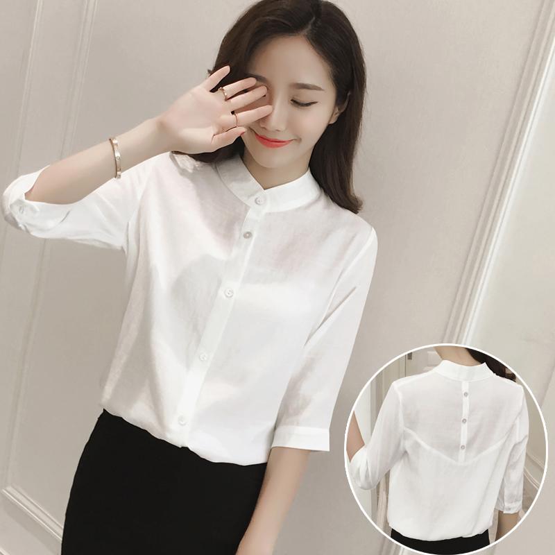 纯色白色衬衣夏装韩范立领五分上衣衬衫修身纯棉