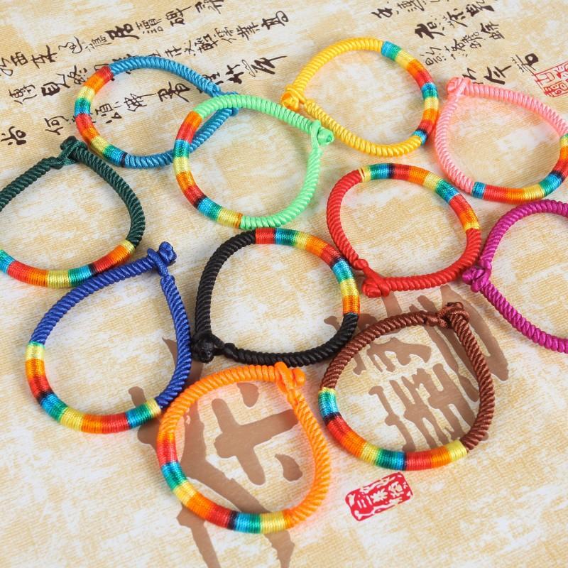 可选特价保平安色10佛珠念珠手链手工编织色5彩线螺旋纹