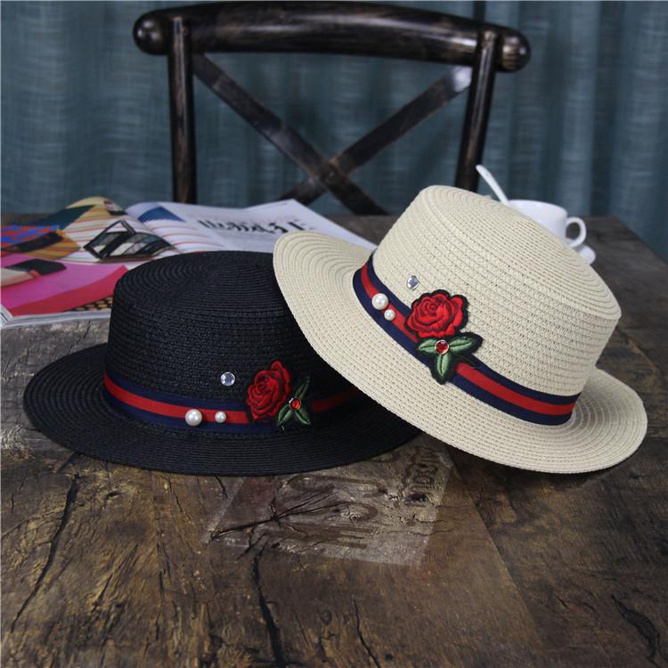 新品时尚女士刺绣珍珠草帽休闲出游沙滩帽夏天户外大檐防晒遮阳帽
