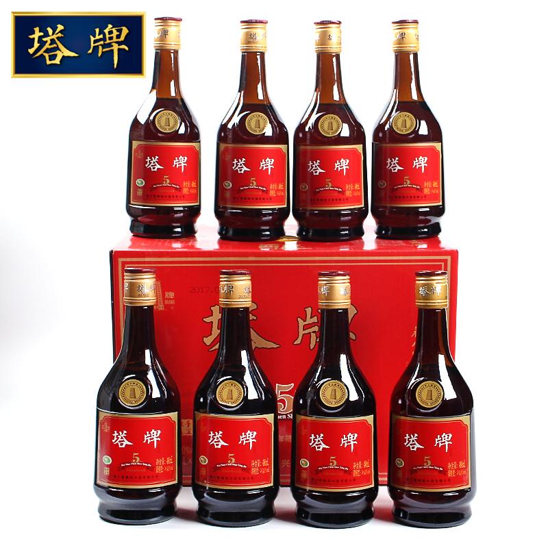 绍兴黄酒 塔牌五年陈花雕酒手工冬酿 480毫升*8瓶礼箱装