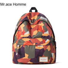 Mr.ace homme中学生书包韩版印花双肩包女款学院风电脑包旅行背包