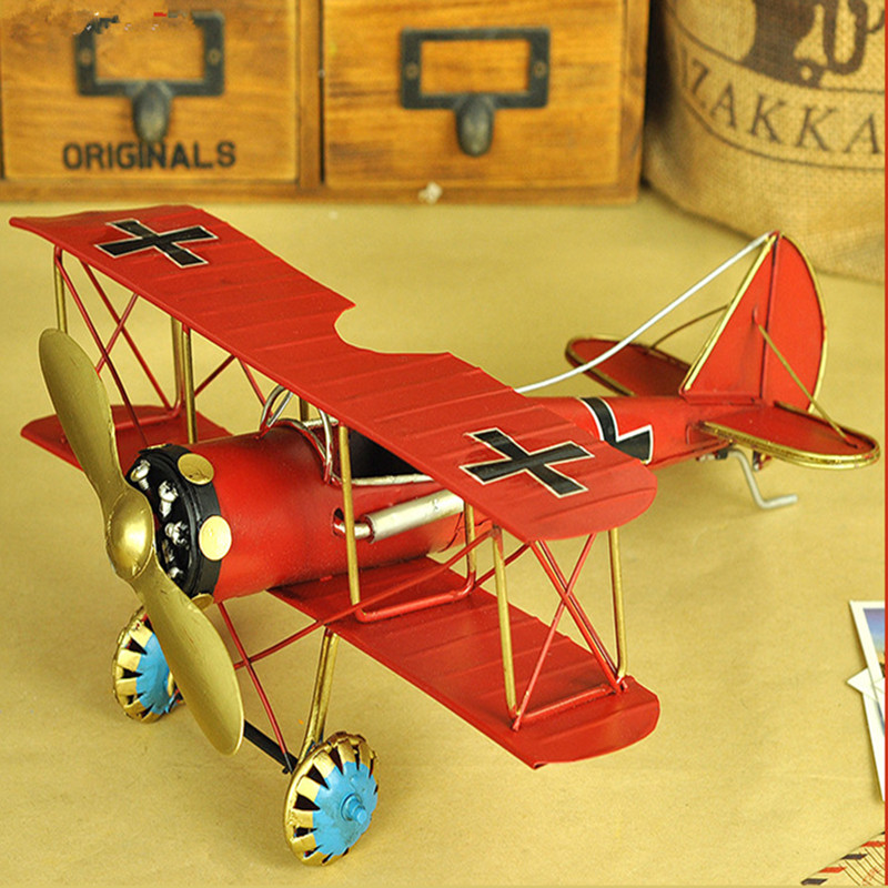 复古飞机模型 仿真铁皮工艺品摆设创意家居客厅美式