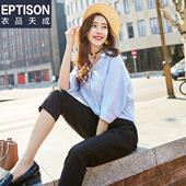 衣品天成 2017夏装新款韩版五分连衣袖V领纯色衬衫女甜美清新学院