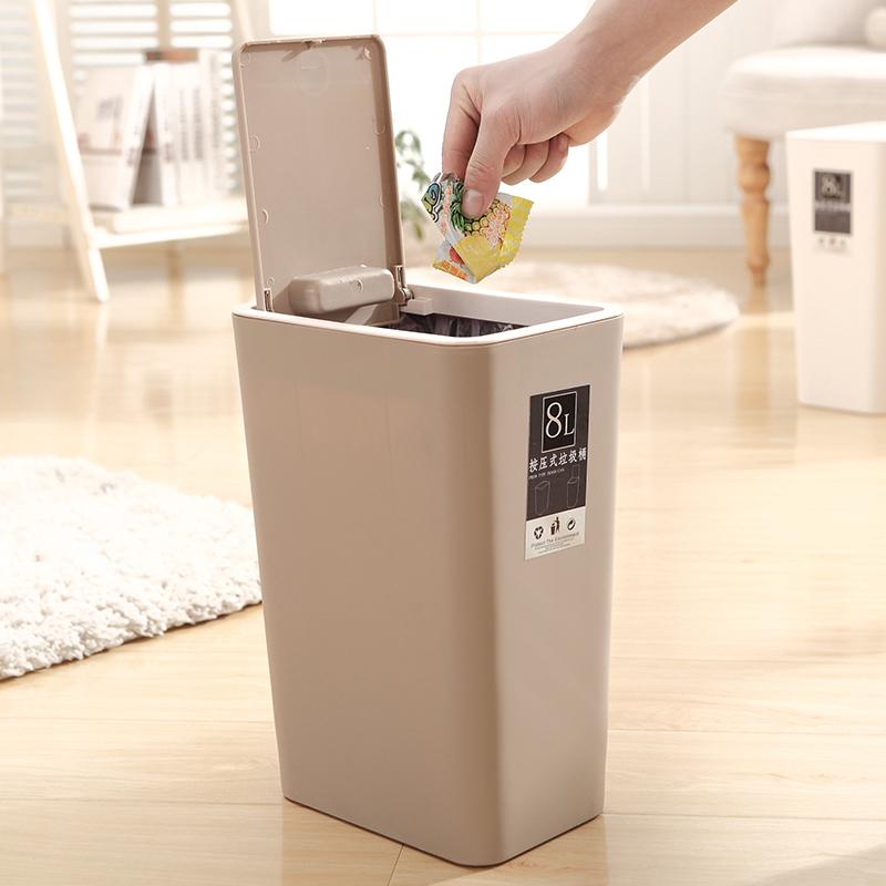 创意卫生间垃圾桶家用欧式厨房客厅中号有盖长方形筒