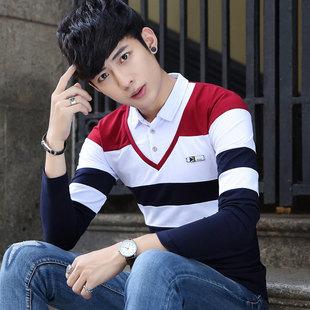 男士长袖t恤青少年修身韩版打底衫学生假两件体恤男装上衣服小衫