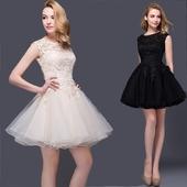 2016新款蕾丝短款蓬蓬裙小礼服伴娘服姐妹裙修身黑色晚装舞会演出