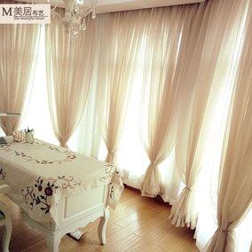 定制纯色亚麻纱帘成品美式田园卧室客厅飘窗落地窗帘遮光特价窗纱