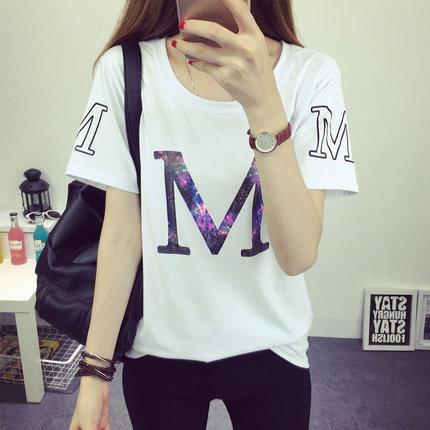 夏装宽松短袖t恤女半袖韩版体恤卡通印花上衣女夏学生韩国小衫