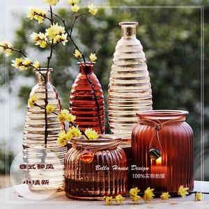 早春的秀简约玻璃花瓶插花瓶水培瓶组合紫色棕色透明装鉓