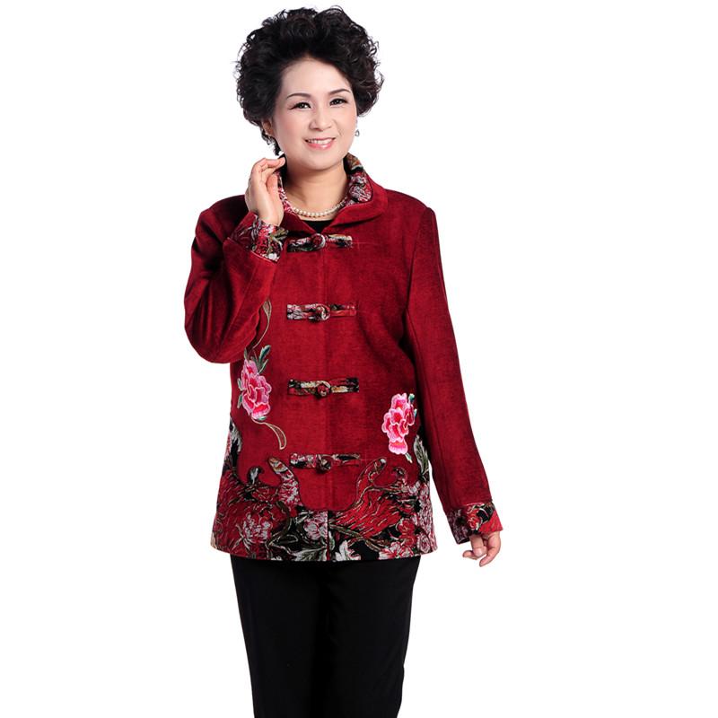 外套/夹克长袖民族风衣服单件上衣灯芯绒中年妇女常规中老年女装