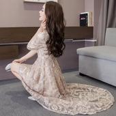 2017春装新款女装韩版时尚蕾丝连衣裙长裙春秋款显瘦春季礼服裙子