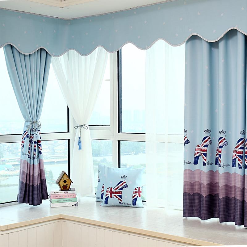卧室飘窗遮光短帘/半帘/男孩女孩儿童房定制窗帘成品