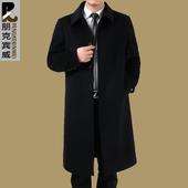 中老年爸爸男装大衣过膝超长款毛呢子羊绒大衣加厚呢外套风衣冬季