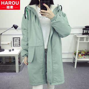 秋冬装少女加绒加厚外套初中高中学生韩版中长款羊羔毛保暖卫衣服