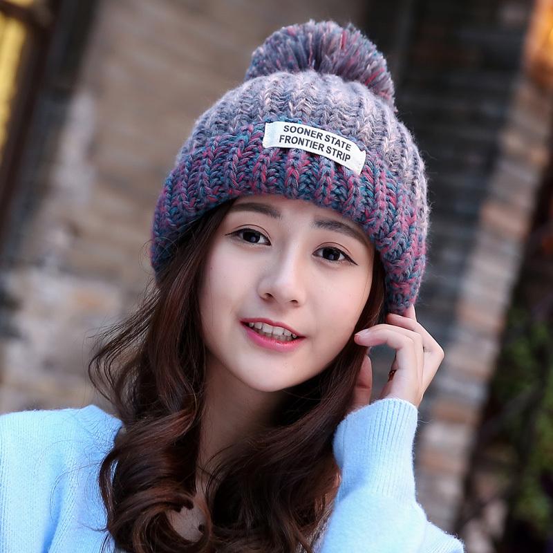 韩版女帽秋冬季针织帽保暖毛线帽休闲可爱甜美冬天潮