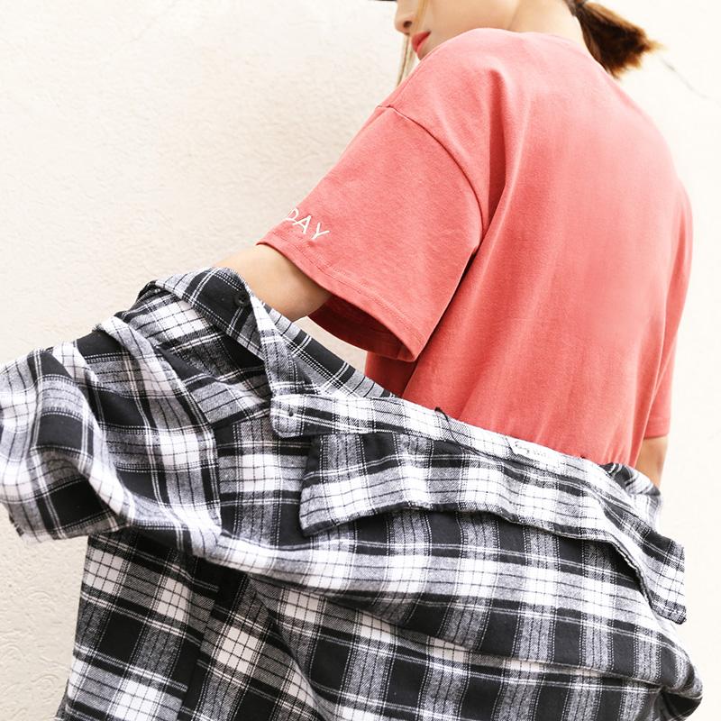 女学生简约bf纯色体恤打底上衣宽松字母短袖