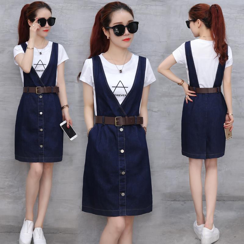 潮韩版连衣裙套装两件套时尚背带裙女装短袖夏季牛仔