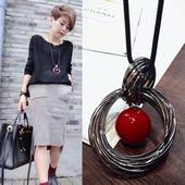 Taimi Style 韩国珍珠圆环毛衣链夏季长款百搭项链吊坠简约时尚女
