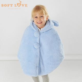款男女童披风珊瑚绒宝宝纯色连有帽加厚婴儿外出斗篷