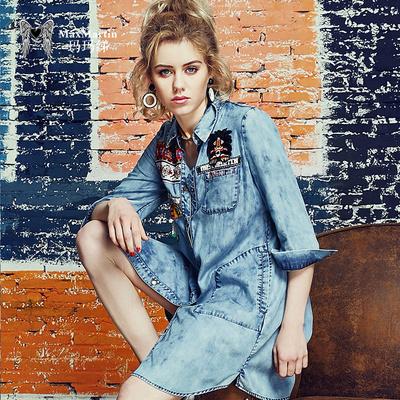 玛玛绨2017春装新款欧美时尚中长款牛仔衬衫韩版贴布