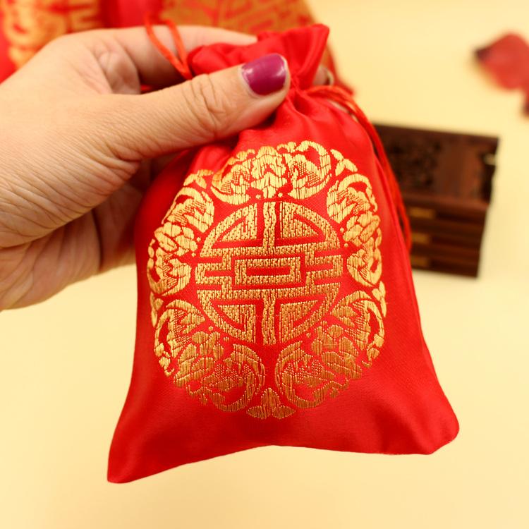 批发创意中式喜糖盒子结婚回礼喜糖袋子婚庆用品锦缎织锦袋手提袋