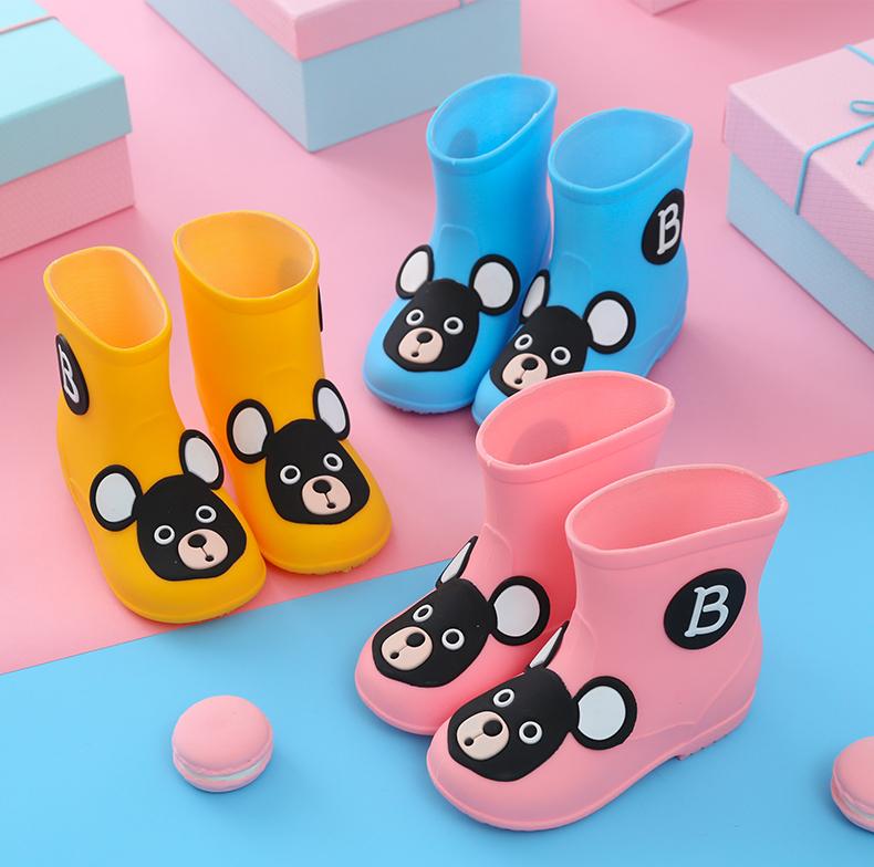 儿童雨鞋男童宝宝雨靴女可爱四季防滑中筒橡胶幼儿水鞋小学生套鞋