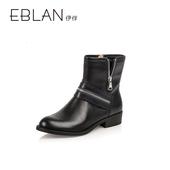千百度集团时尚女鞋 伊伴秋冬时尚个性拉链舒适牛皮女靴 B5518752