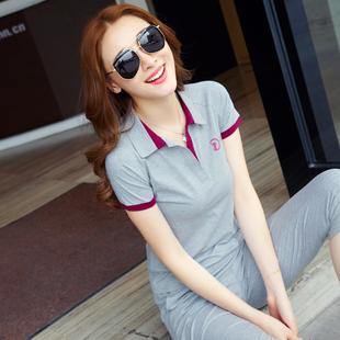 运动套装女夏薄款纯棉短袖七分裤大码休闲两件时髦套装运动服跑步