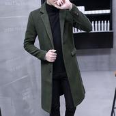 春季青年男风衣韩版加长款过膝毛呢大衣修身潮流秋冬超长妮子外套