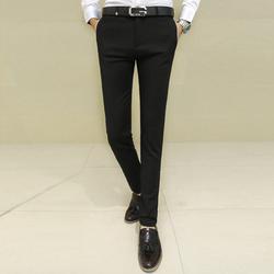 男士修身型西裤秋季青年西装裤韩版英伦休闲小脚西服裤弹力男裤子