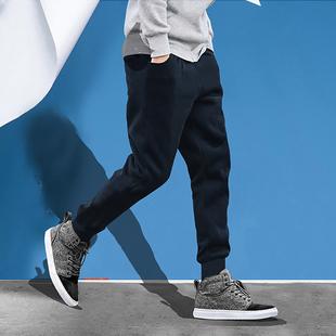 青年裤子韩版收口小脚男士运动休闲修身长卫裤春季薄款净色时尚