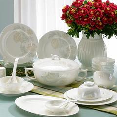 碗碟套装 景德镇陶瓷器28/56头骨瓷餐具韩式创意家用碗盘餐具套装