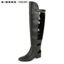 【新品】sdeer圣迪奥专柜正品女优雅光泽设计感高筒女靴S15483985图片