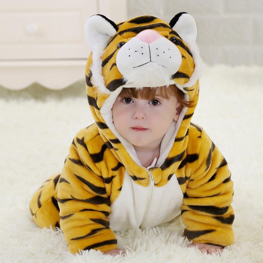 老虎动物造型连体哈衣男女婴儿宝宝儿童卡通外套冬装