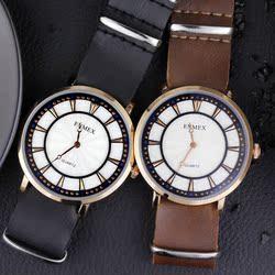 夏日礼物Enmex轻薄男士手表简约款两针软皮带英伦风优雅男表