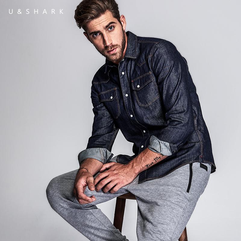 优鲨秋季牛仔衬衫男长袖纯棉修身牛仔衬衣外套男保暖牛仔男装衬衫
